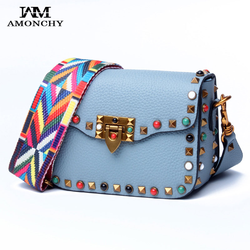 Summer 2017 Latest Women Rivet Bags Genuine Leather Shoulder Crossbody Bags Colorful Pearl Lady Messenger Bag Cow Skin Handbags 2017 national embroidery bags women leather shoulder bag lady college crossbody bag colorful strap girls messenger bags school