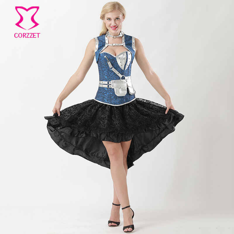 S-6XL Victorian Floral Jacquard Steel Boned Overbust Corset Skirt Steampunk  Dress Plus Size Corsets and Bustiers Gothic Clothing