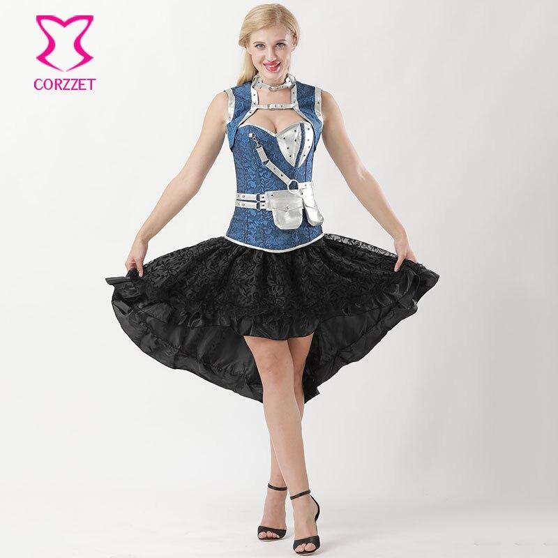 S-6XL Victorian Floral Jacquard Steel Boned Overbust Corset Skirt Steampunk  Dress Plus Size Corsets ...