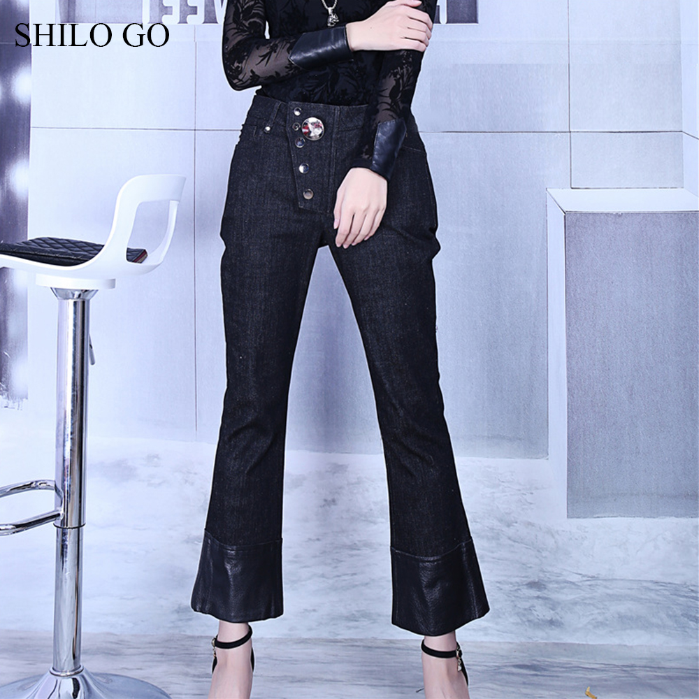 SHILO GO Leather Pants Womens Spring fashion sheepskin genuine leather Pants high waist metal button patchwork small flare jeans