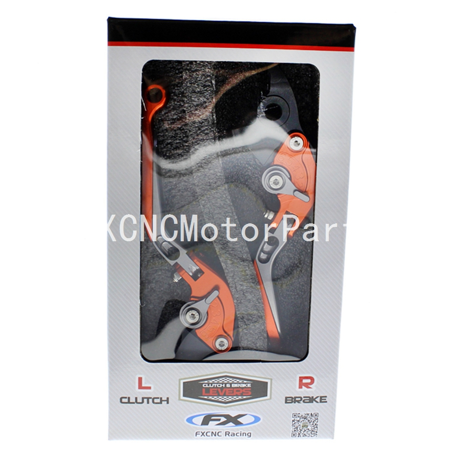 FX CNC Motorcycle Folding Extendable Brake Clutch Levers Orange & Gray With Packing Box For KTM 1190 Adventure/R 2013-2016 for ktm 990 950 640 adventure motorcycle accessories adjustable folding extendable brake clutch levers