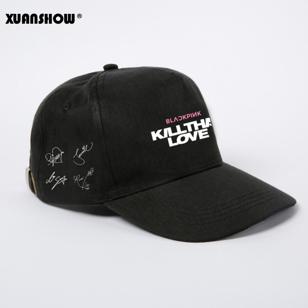 XUANSHOW Adjustable Men Women Hats BLACKPINK KILL THIS LOVE Signatures Printed Fashion Cotton Visor   Baseball     Caps   Unisex Gorras