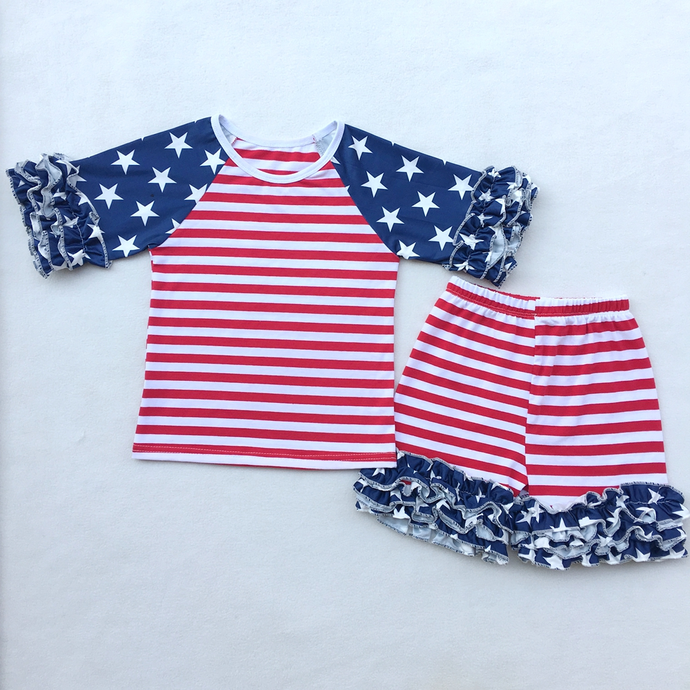 4th of July Baby Girls Clothing Set Summer Girls Tees Ruffle Short Girls Outfit American USA Flag Baby Clothes 2pcs Kids Clothes baby girls summer clothing girls july 4th anchored in god s word shorts clothes kids anchor clothing with accessories
