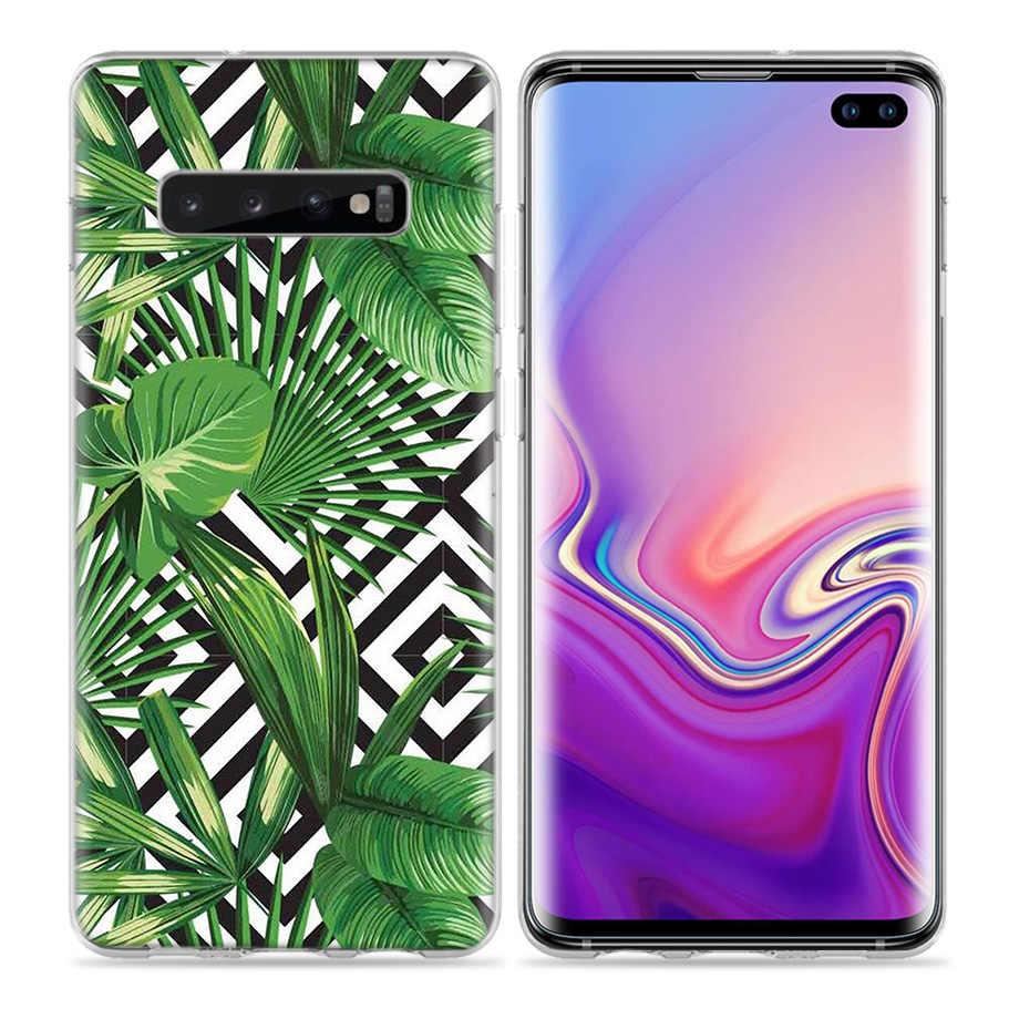 Marmuru kwiaty ananas etui do Samsung Galaxy S8 S9 S10 5G S10e S7 uwaga 8 9 10 J4 J6 plus J5 J8 2018 J3 silikonowe torby na telefony
