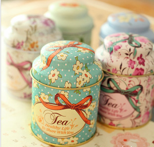 Free Shipping! 3pcs/lot Bowknot New Fashion Tin Tea Can with Printing Tea Canister Multi-Use Storage Jar Storage Box Case T1221