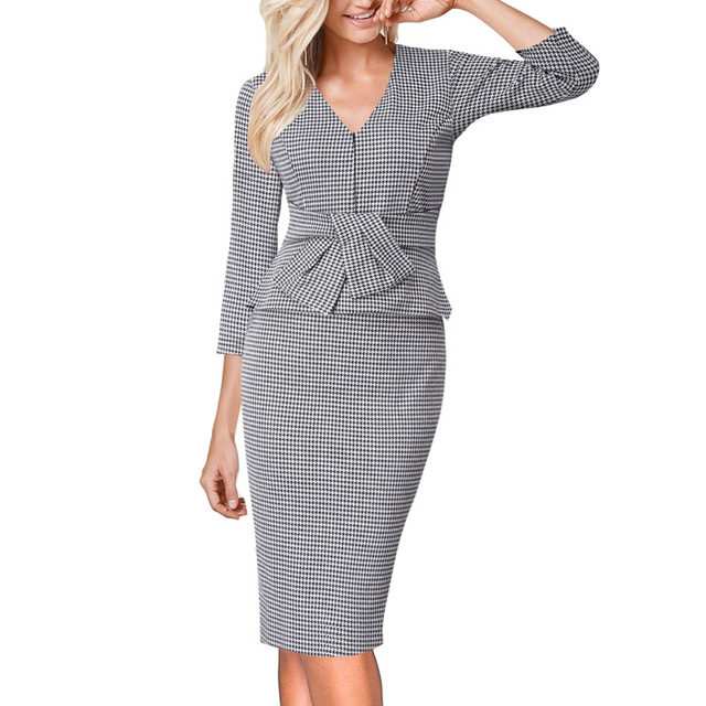 ea78eb1eebc Vfemage Womens V Neck Front Zipper Ruffle Bow Peplum Work Office Business  Cocktail Party Stretch Bodycon