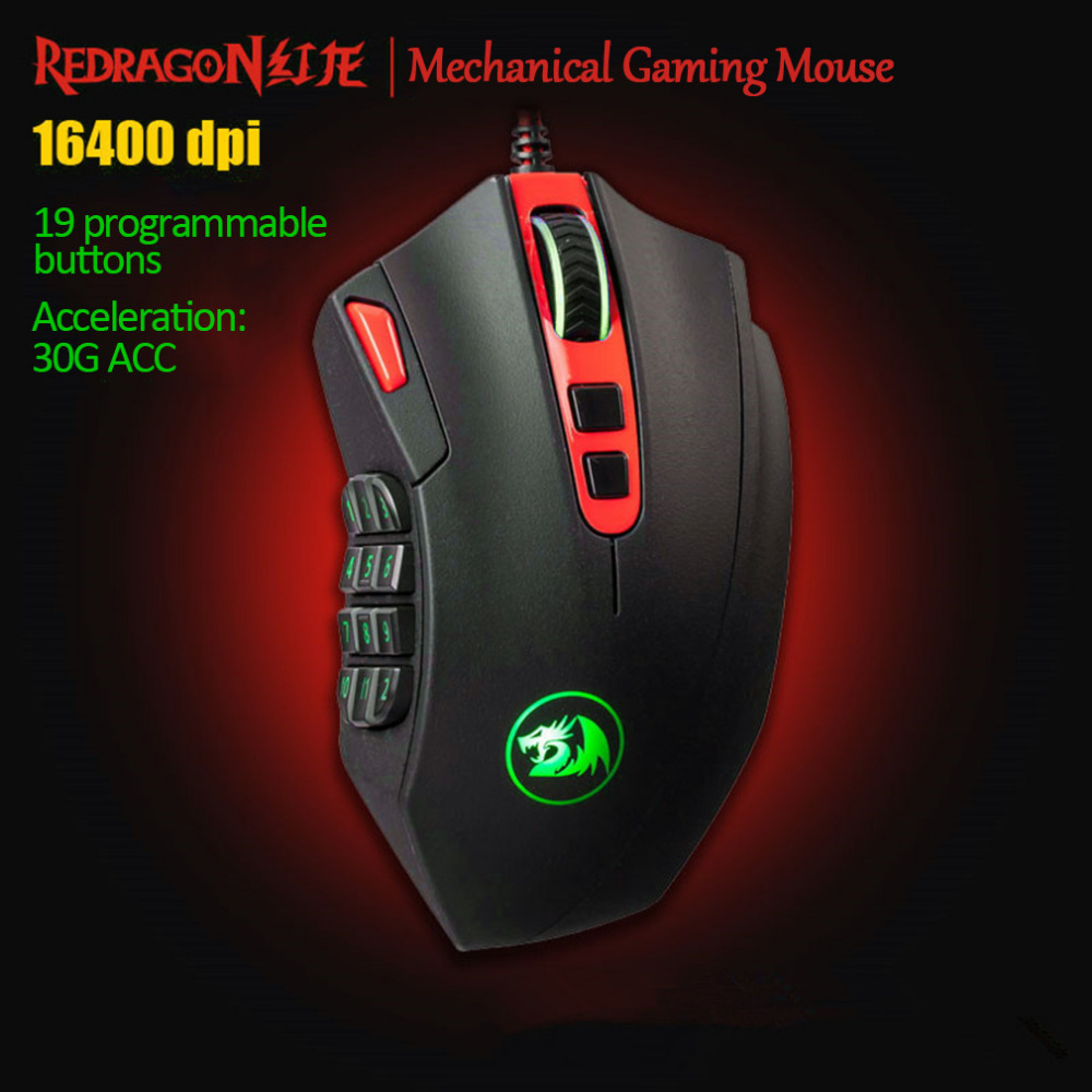REDRAGON 16400 DPI Adjustable Optical Mechanical Gaming Mouse Programmable 19 Button USB Wired Mice Competitive Game Mouse