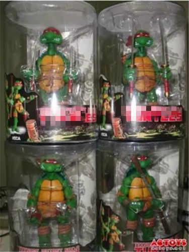 """4 ชิ้น/เซ็ต Original NECA 5 """"เต่าสีแดงแถบวงดนตรีที่แตกต่างกัน PVC นินจา Action Figure Collection ของเล่น"""