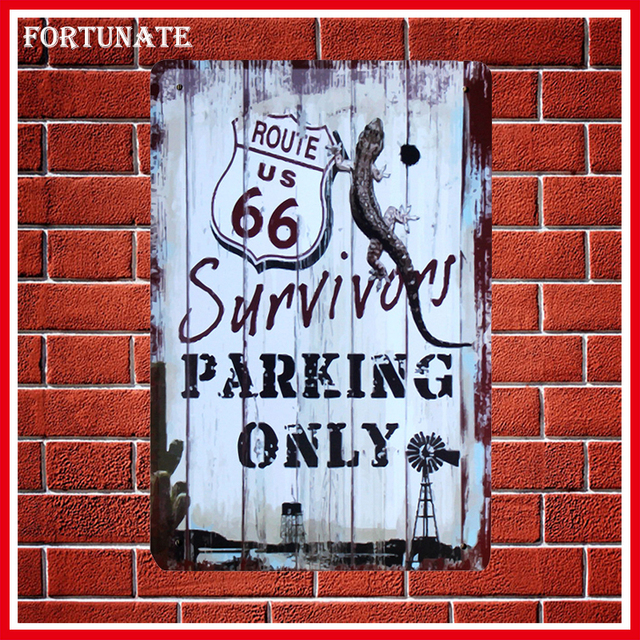 Hot Survivors Parking Only 66 Sign Metal Signs Home Decor Vintage Tin Signs  Pub Vintage Decorative