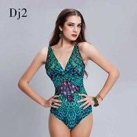 Brand High Quality 3D Printed Swimwear Women Sexy Deep V Leopard One Piece Swimsuit Bodysuit Brazilian