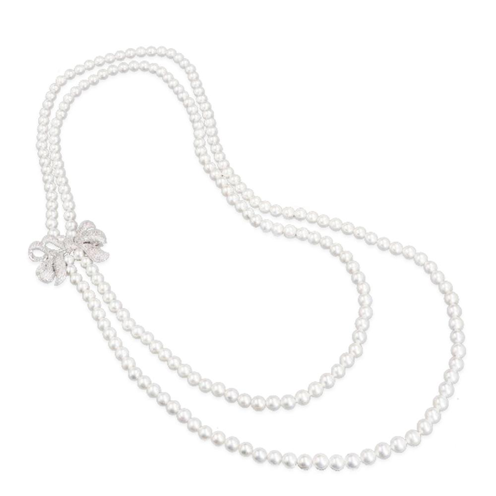 Jade Angel Women White Simulated Shell Pearl Double Strands Sweater Necklace with Cubic Zirconia Bow Charm Mother's Day Gifts