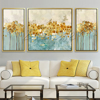 3 pieces blue gold abstract Painting Acrylic Canvas painting quadros caudros decoracion Wall Art Pictures for living room Home