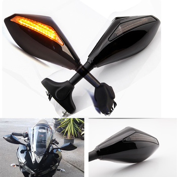 Motorcycle INTERGRATED LED Turn Signals Rearview Mirror For Honda CBR 250 500 600 1000RR / RVT1000R Suzuki Yamaha YZF R6 image