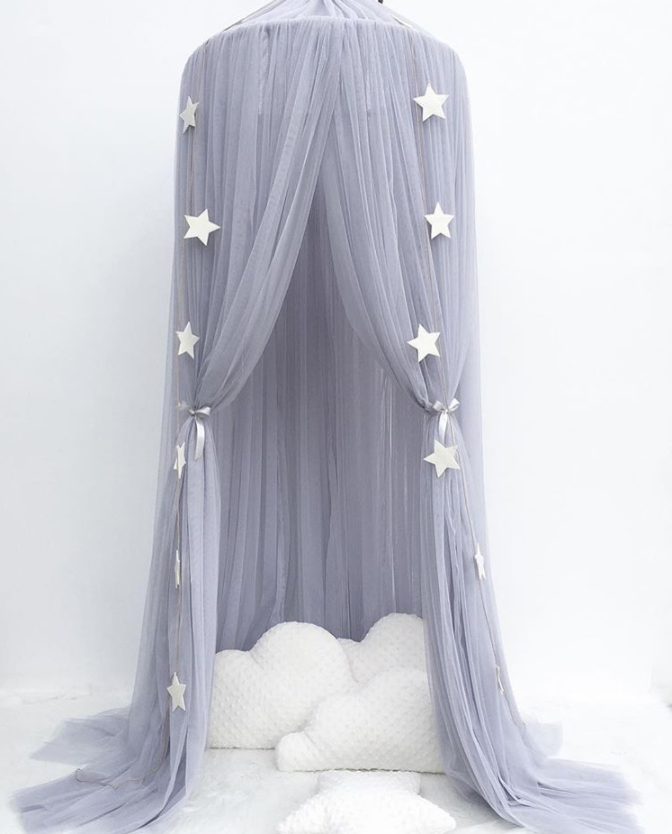 1PC Circular Grey Canopy Bed Valance Kids Room Decoration Bed Tent Moustiquaire Princess Kids Girls Round