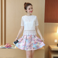 A Lady White Blouse & Printed Pleated Skirt Clothing Set Summer Wear New Lace Round Collar Top Printing Skirt Outfit Zip S XL
