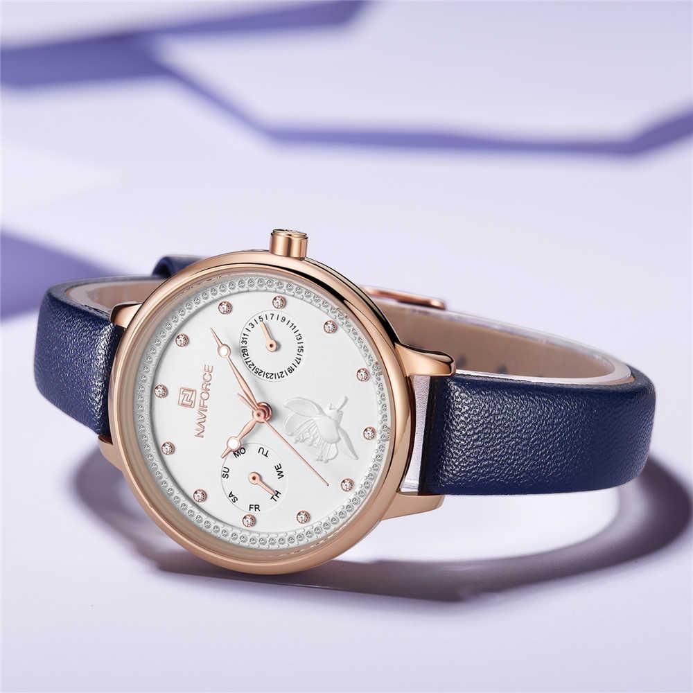 NAVIFORCE נשים שעון אופנה כחול קוורץ ליידי עור רצועת השעון תאריך שבוע מזדמן עמיד למים שעוני יד מתנה עבור ילדה 2019 חדש