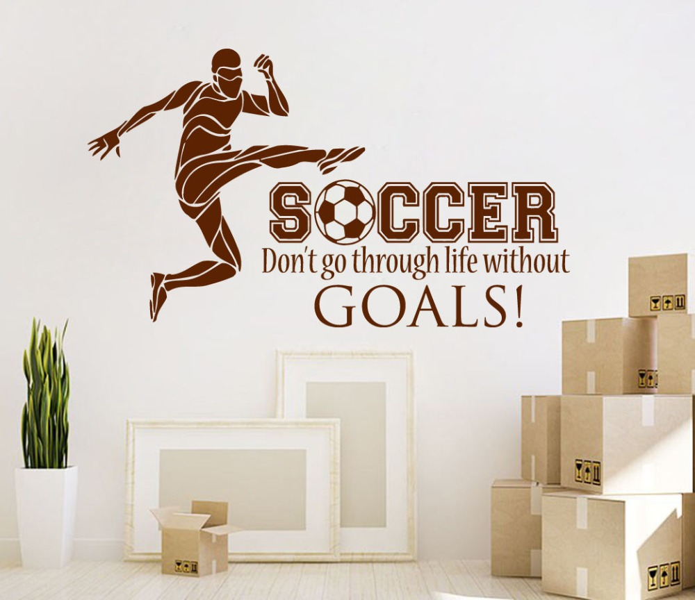 Wall Sticker Football Soccer Quotes Decal Boys Teens Bedroom Art Decor  Stickers Boy Sports Living Room