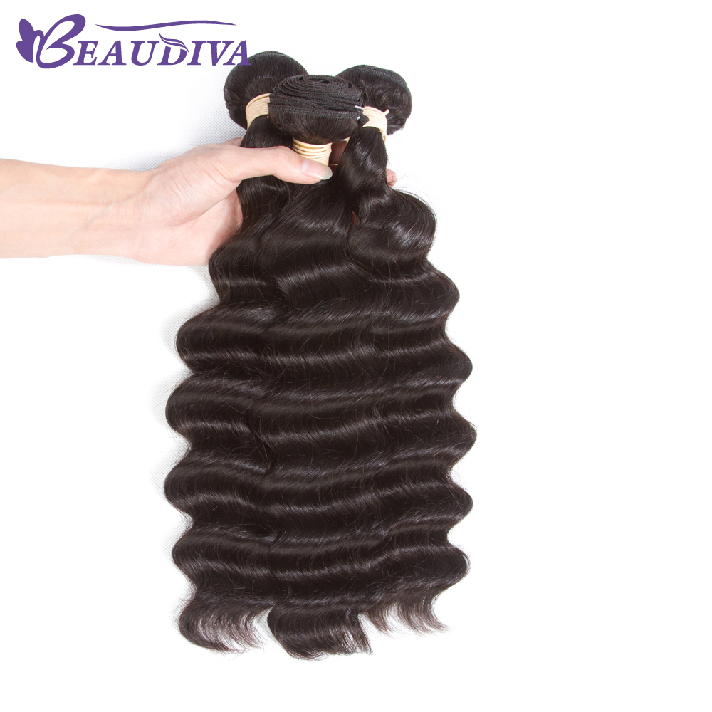 Beaudiva Malaysian Deep Wave Human Hair 3Bundles Hair Weave Deep Curly Natural Color Free Part Malaysian Hair Weave Bundles Remy
