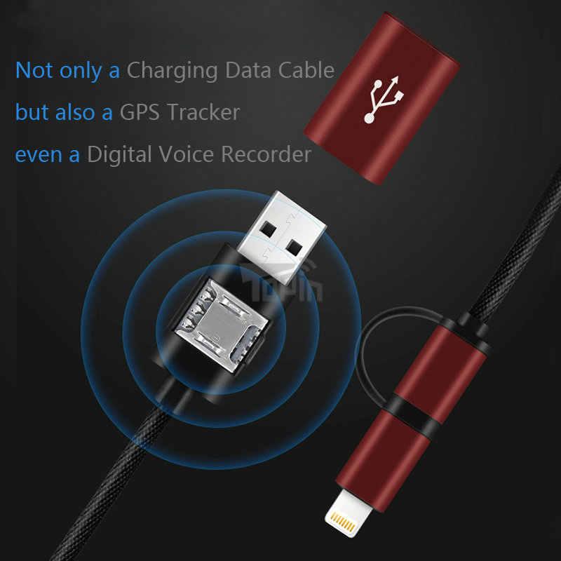 Micro-USB Lightning 2in1 данных зарядный кабель gps трекер WiFi lbs удаленного отслеживания голос мониторы для iPhone Android автомобиль