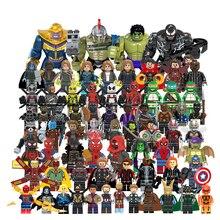 Супергерои Мстители Legoings Marvel строительные блоки фильм Человек-паук Playmobil кирпичи набор Legoe Minifigured игрушки для детей