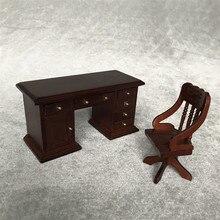 Muebles en miniatura para casa de muñecas 1:12, Mini Silla de escritorio de madera Vintage, casas de muñecas, juguetes, juegos de estudio de oficina, juguetes para niños, regalo para niños