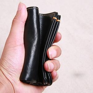 Image 4 - AETOO cartera corta de piel de vaca de primera capa para hombre, billetera juvenil de piel de vaca, hecha a mano, sencilla y suave, mini billetera vertical