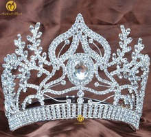 Floral Large Tiaras Handmade Contoured Crowns Clear Rhinestones Crystal Diadem Beauty Pageant Party Wedding Bridal Headband