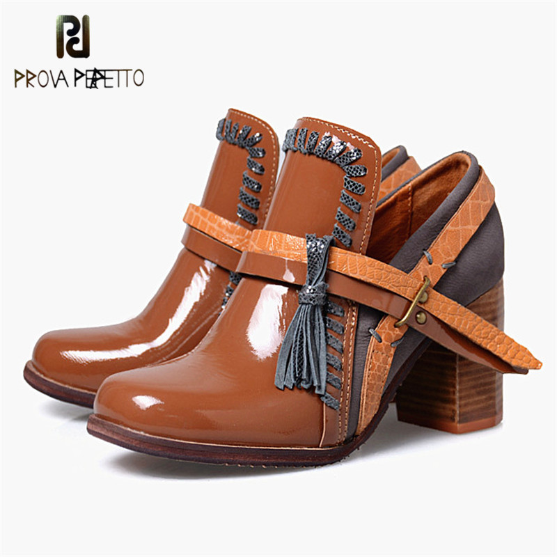 Prova Perfetto Fashion Retro Women Ankle Boots Mixed Color Buckle Strap Shallow Boots Genuine Leather Chunky Women Heel Shoes prova perfetto mixed color chunky high heel rome style women sandals rivet decoration buckle genuine leather shoes mujer zapatos