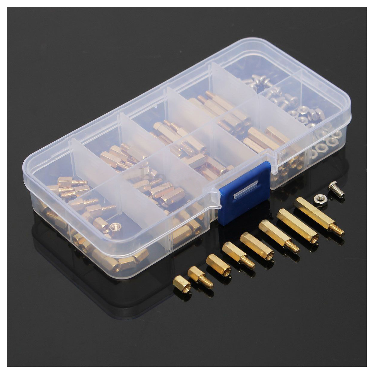WSFS Hot 120Pcs M3 Male Female Brass Standoff Spacer PCB Board Hex Screws Nut Assortment thgs 120pcs m3 male female brass standoff spacer pcb board hex screws nut assortment