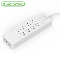 US Plug Energy Saving Surge Protector Socket 8 Outlet For Home Theater With 4A 4 USB