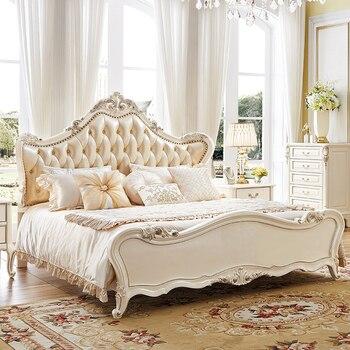 جودة عالية النمط الأوروبي الملكي الملك الحجم خشب متين منحوتة باليد مجموعة أثاث غرف النوم من سوق الأثاث فوشان