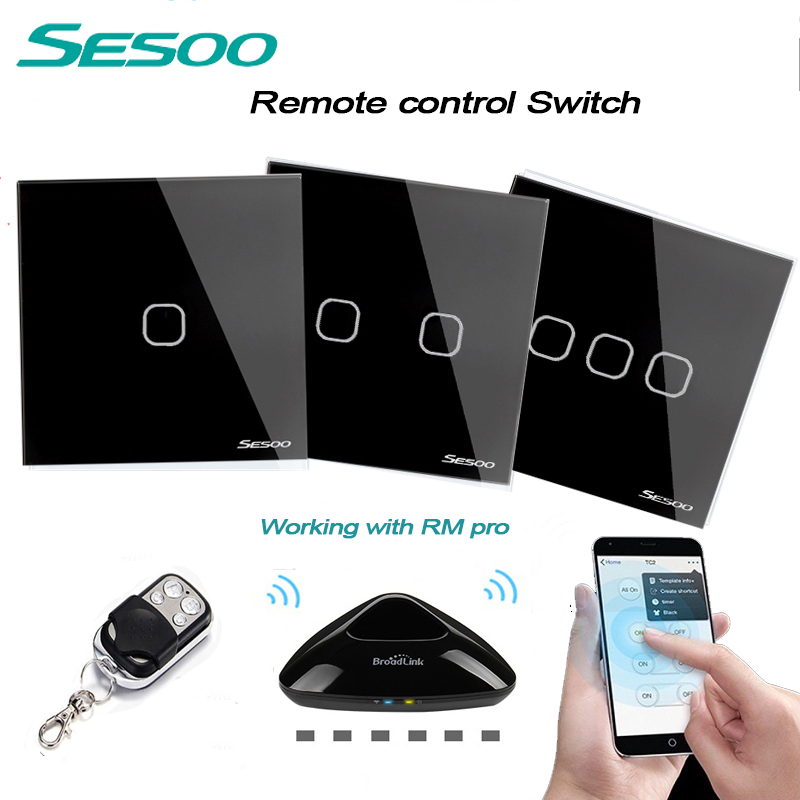 SESOO EU/UK Standard 1gang/2gang/3gang RF433 Remote Control Touch Wall Switch, Smart Home Wireless Remote Control Light Switches smart home eu touch switch wireless remote control wall touch switch 3 gang 1 way white crystal glass panel waterproof power