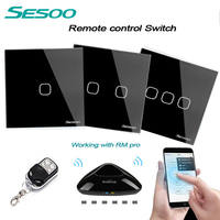 SESOO EU UK Standard Remote Control Light Switches 2 Gang 1 Way Crystal Glass Panel Remote