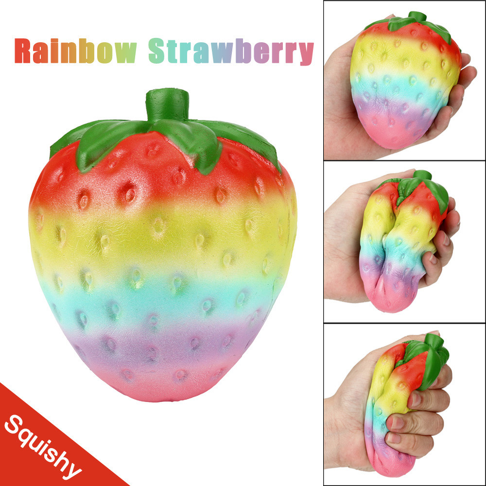 Squishy Kawaii Jumbo Toy Slow Rising Squeeze Rainbow Strawberry Stress Reliever Antistress Fun Toy For Children Home Decor JA11b