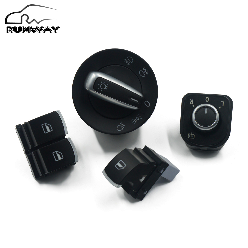 Buy Headlight Switch Mirror Window Button For Volkswagen Vw Passat B6 Eos Golf 5 6 R32 Gti Mk5 Mk6 Tiguan 4pcs Set 5k3959857 From