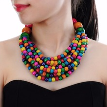 4 Colors Collar Creative Chain Style Bib Pendant Necklace Woodiness Necklaces Colorful Jewelry