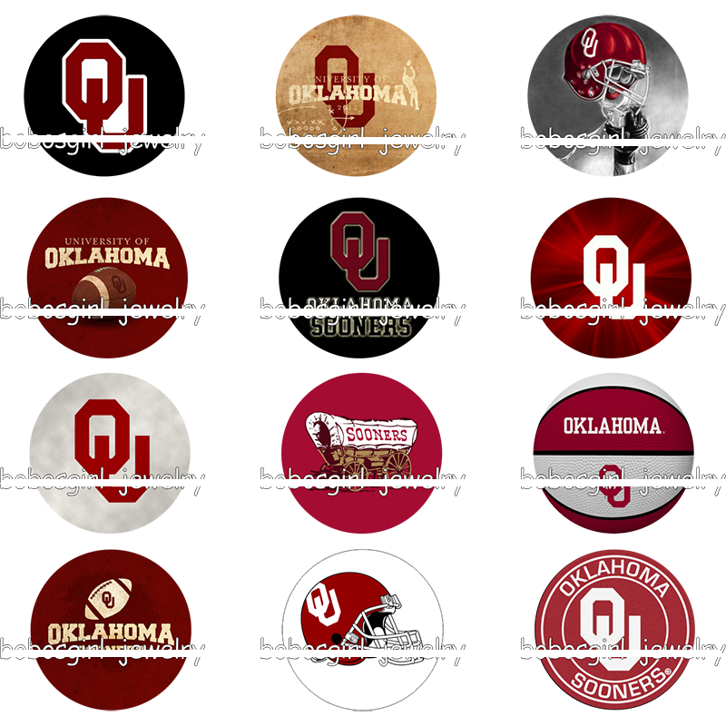 50 Pcs mixed NCAA Oklahoma Sooners football glass ginger snap button charm for 12mm 18mm snap jewelry ...