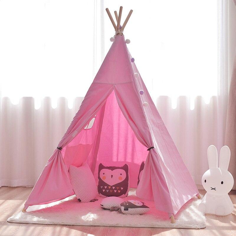 Tienda de lona Tipi niños tienda de campaña india princesa Casa de juego interior simulada Camping bebé habitación decoración regalo de cumpleaños - 2