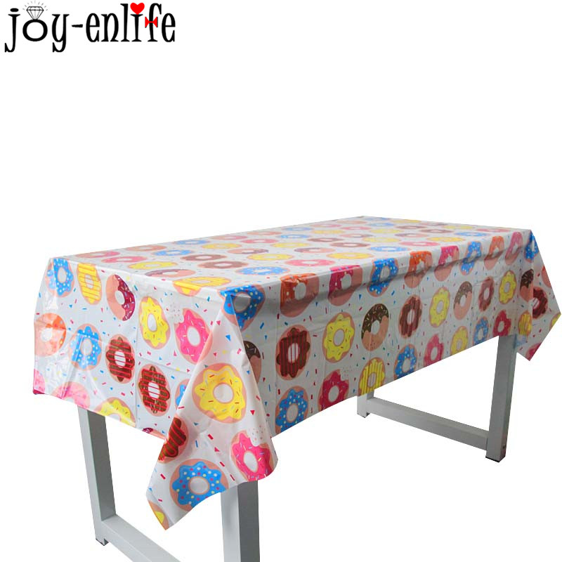 Donut Party Tablecloths Kids 1st Sweet 16th Birthday Party Decorations Table Cover Baby Shower Candy Wedding Party Supplies