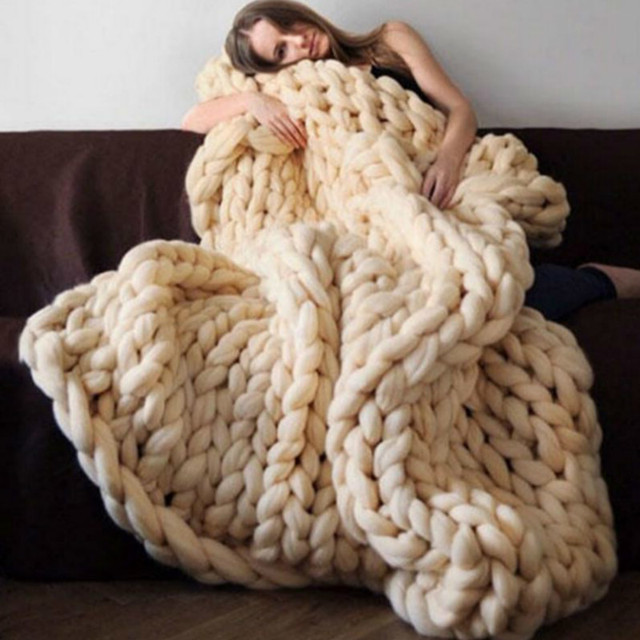 New Throw Blankets Knitted Bed Blanket Hand knitted Warm ...