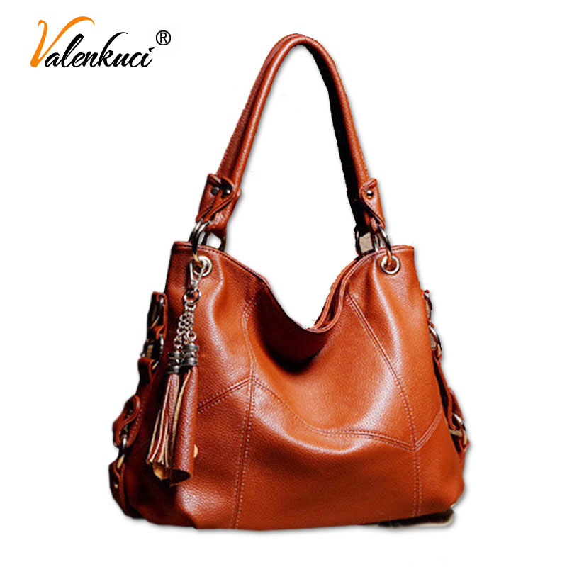 ФОТО Valenkuci Women Handbag Genuine Leather For Women Messenger Bags Tassel Cowhide bolsa feminina Women Bag Shoulder Bag SD-012