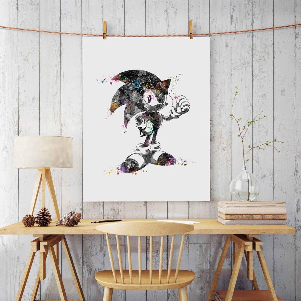 papel de arte de pintura em aquarela do sonic sonic the hedgehog