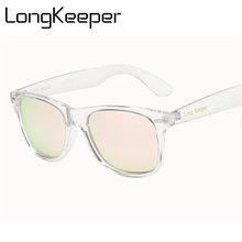 LongKeeper Fashion Classic HD Polarized UV400 Men Sunglasses With Brand Logo Driving Women Transparent Pink Sun Glasses