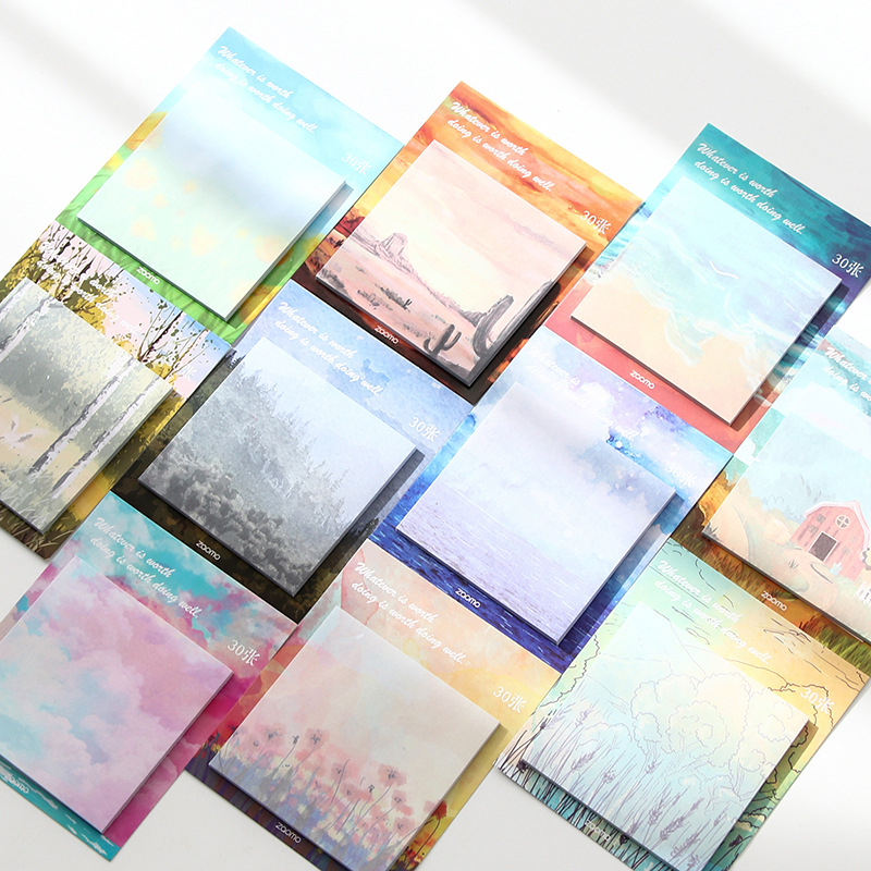 Cute Scenery Memo Pad Painted Self-Adhesive N Times Sticky Notes Stationery Sticker School Supplies Bookmark Label Escolar