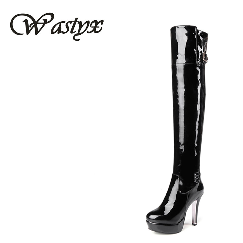 Wastyx new winter over the knee boots sexy super high women boots thin heel shoes woman Fashion round toe sapato feminino 34-48 цены онлайн