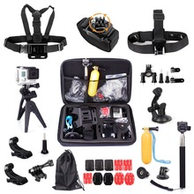 For Gopro Accessories kit for gopro3 gopro4 accessory mini tripod 360 wrist chest head strap for Eken/SJCAM 14A