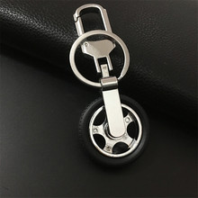 360 Degree Turn Rotation Tyre Keychain Car Tire logo Key Ring Covers Carabiner for