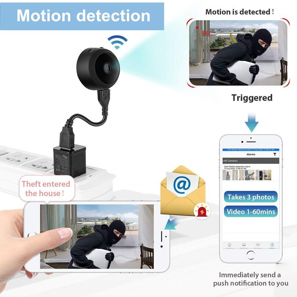 Micro Mini caméra ip wifi 1080 P HD 2mp sans fil réseau de sécurité à domicile caméscope nounou bébé moniteur détection de mouvement pour téléphone - 6