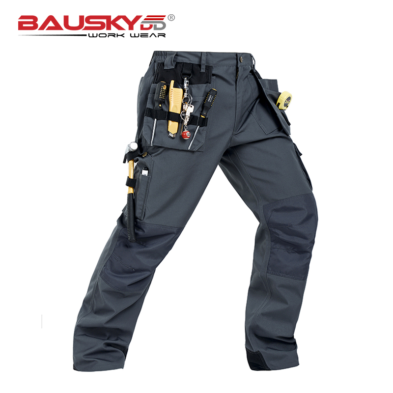 Working Clothes Construction Pants Mens Workwear Pants Craftsman Working Pants Males Dark Grey Workwear Pants Cotton Twill B131