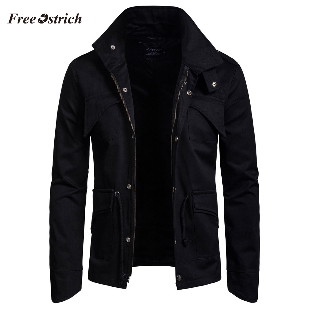 Free Ostrich Men's Pure Color Jacket Full Sleeve High Quality Motorcycle Leather Coats Fashion Cardigan Tops For Men Hot Sales